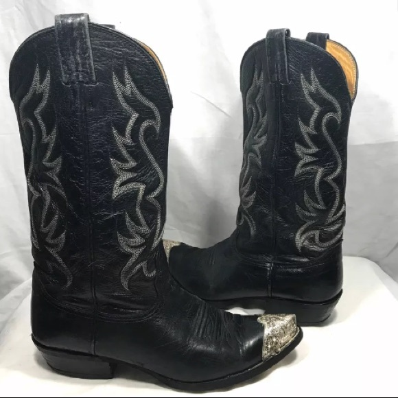 Nocona Black Pointed Silver Leather